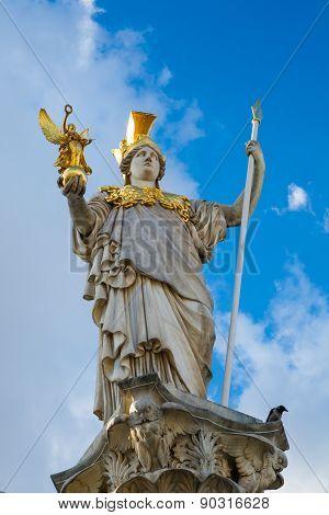 Statue Of Pallas Athena Brunnen Near Parliament Building In Vienna, Austria