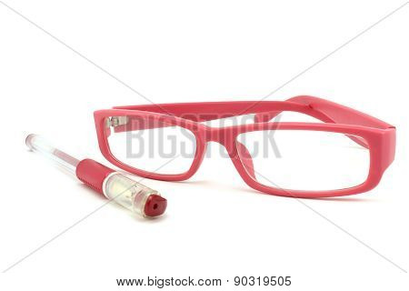 Pink Pen And Glasses