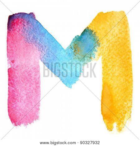 Letter M - colorful watercolor abc