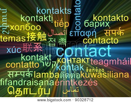 Background concept wordcloud multilanguage international many language illustration of contact glowing light