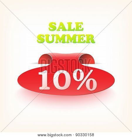 Realistic curved ribbon icon sale summer. Vector illustration