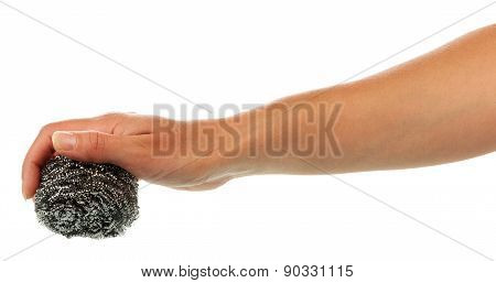 Hand with scourer