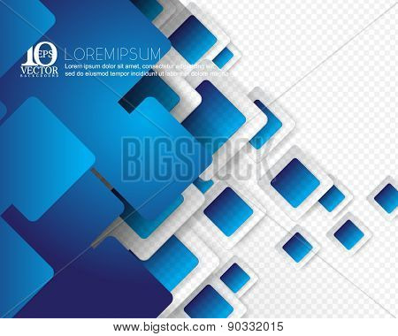 eps10 vector green geometric round corner square overlapping blue frame background