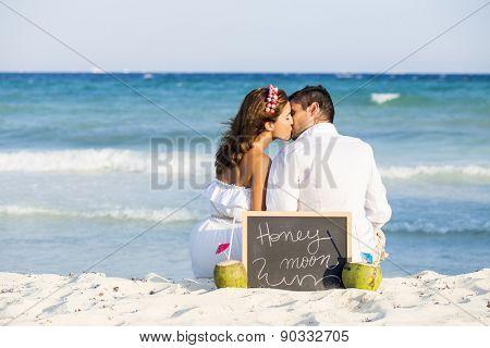 Couple enjoying their honeymoon in the Caribbean