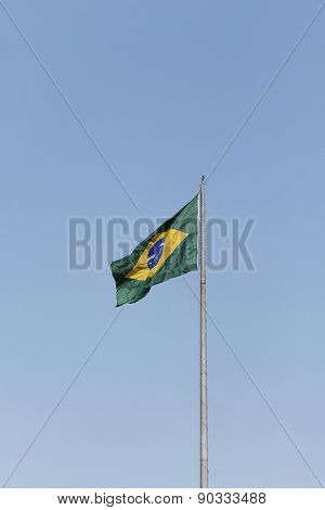 Brazil flag hoisted on a mast for independence day