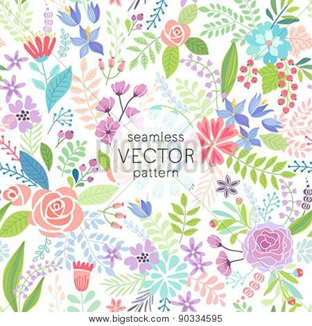 Seamless Floral hand drawn pattern. Vector illustration.