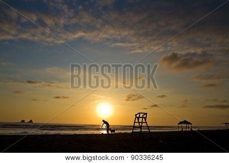 Beautiful sunset view from Ayampe beach in Manabi, Ecuador