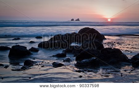 Beautiful romantic sunset view from Ayampe beach, Ecuador