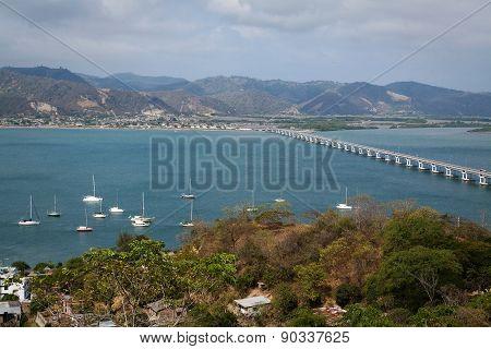 Beautiful landscape of the bridge that connects San Vicente with Bahia de Caraquez, Ecuador