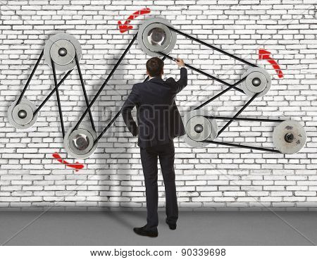 Business concept. Back view of businessman develops mechanism on wall