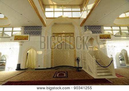 Mihrab of The Crystal Mosque or Masjid Kristal in Kuala Terengganu, Terengganu, Malaysia.