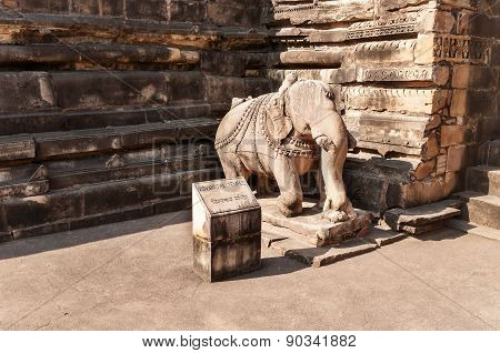 Statue Of An Elephant At The Entrance To Vishvanath Temple In  Khajuraho