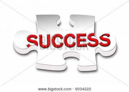 The word success inside a piece of puzzle