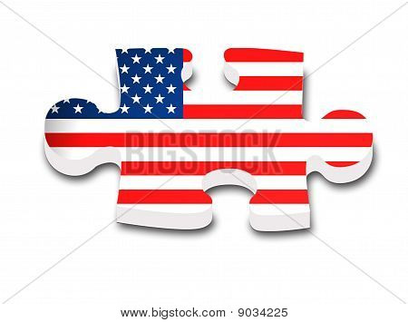 The flag of the us, inside a piece of puzzle