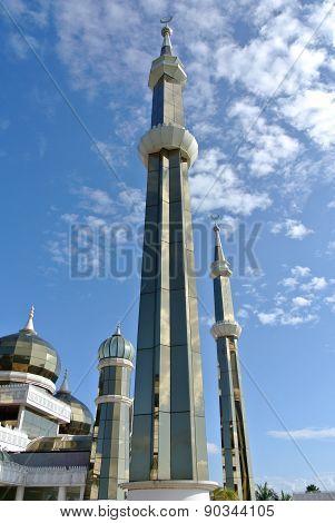 MInaret of The Crystal Mosque or Masjid Kristal in Kuala Terengganu, Terengganu, Malaysia.