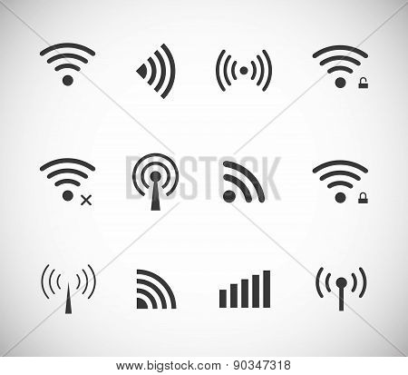 Set of different black vector wireless and wifi icons for remote access and communication via radio waves poster