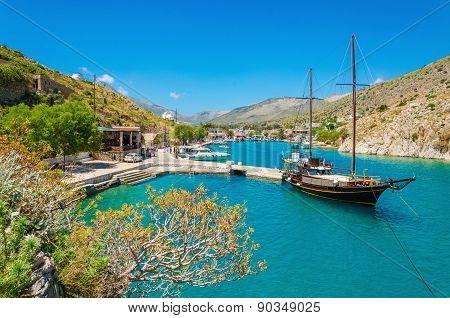 Wooden yacht standing in Greek port, Greece