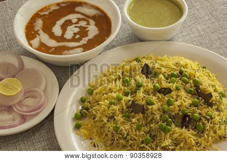 Matter pulao with Dal makhni