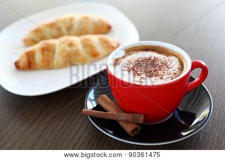 Italian Cappuccino And Croissant