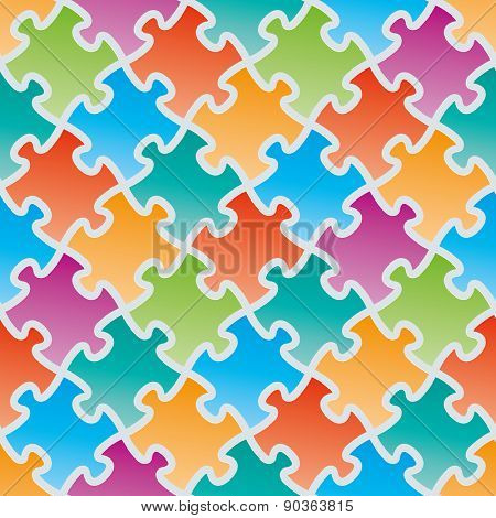 Colorful jigsaw puzzles. 3d seamless background. Vector EPS10.