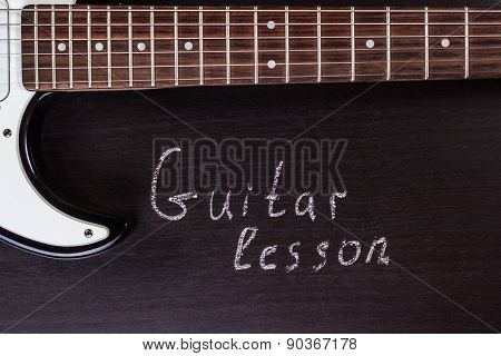 Electric guitar with text