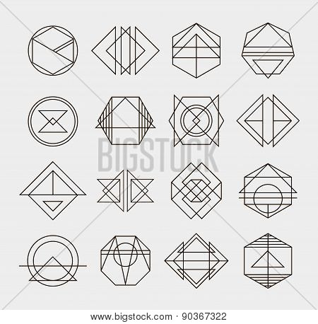 Set of retro line abstract hipster monochrome geometric badge logo design templates