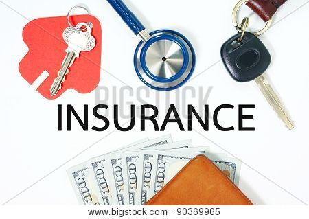 Insurance Concept With Money In Wallet