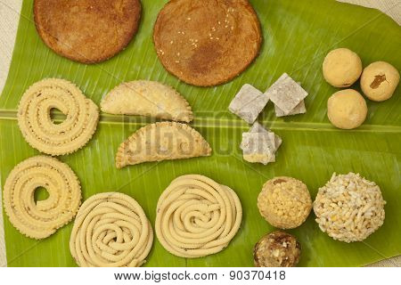 Top View of Traditional Ceremonial Indian Sweets and Snacks from India poster