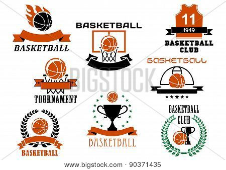 Basketball game emblems and symbols