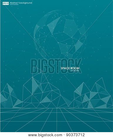 Abstract polygonal space low poly background with connecting dots and lines. Connection structure. Vector science background. Futuristic HUD background. Business abstract Vector illustration