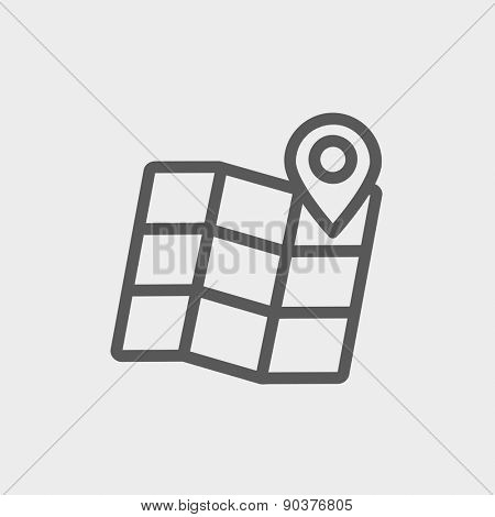 Folded map with pin icon thin line for web and mobile, modern minimalistic flat design. Vector dark grey icon on light grey background.