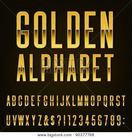 Golden Alphabet Vector Font.