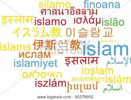 Background concept wordcloud multilanguage international many language illustration of Islam