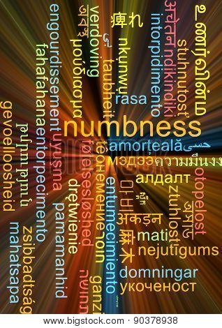 Background concept wordcloud multilanguage international many language illustration of numbness glowing light