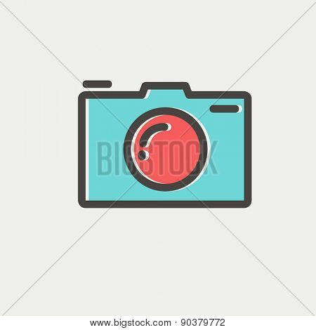 Camera icon thin line for web and mobile, modern minimalistic flat design. Vector icon with dark grey outline and offset colour on light grey background.