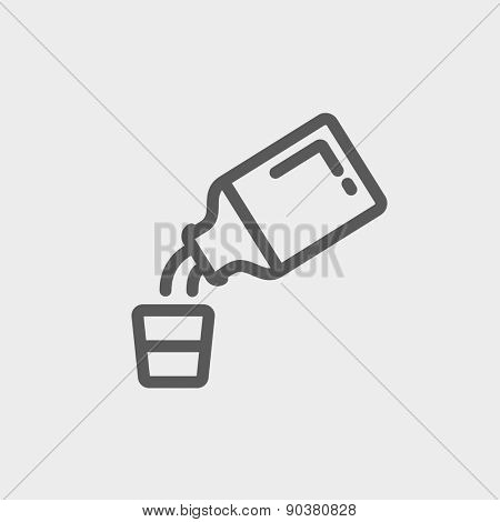 Medicine and measuring cup icon thin line for web and mobile, modern minimalistic flat design. Vector dark grey icon on light grey background.