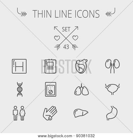 Medicine thin line icon set for web and mobile. Set includes- human internal organs, hospital, DNA icons. Modern minimalistic flat design. Vector dark grey icon on light grey background.