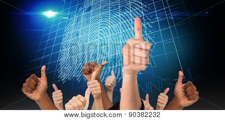 Hands showing thumbs up against digital security finger print scan