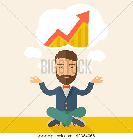 A man closing his eyes thinking about on how the business will grow. Business concept. A Contemporary style with pastel palette, soft beige tinted background. Vector flat design illustration. Square