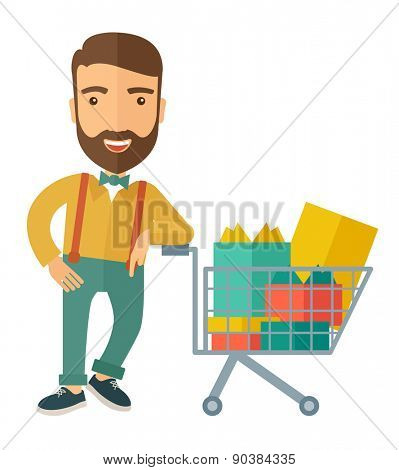A happy man standing with his shopping cart. A contemporary style. Vector flat design illustration with isolated white background. Vertical layout
