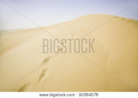 Sand dunes of a desert, footprints