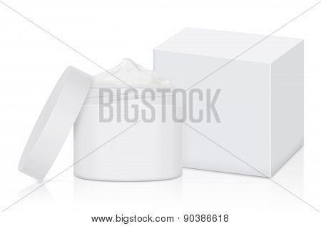 White cream jar and box
