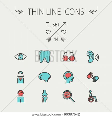 Medicine thin line icon set for web and mobile. Set include- tooth, eye, ear, hands, bone, brain, human icons. Modern minimalistic flat design. Vector icon with dark grey outline and offset colour on