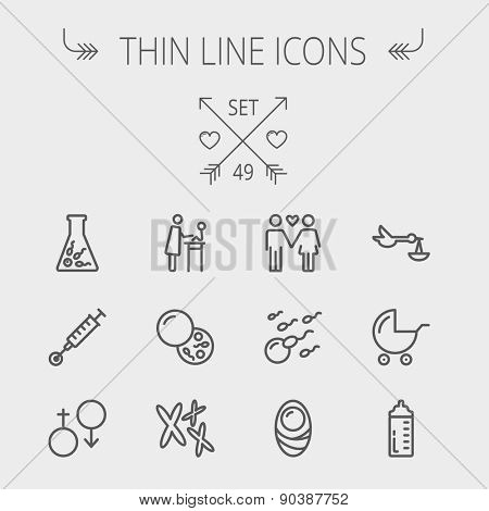 Medicine thin line icon set for web and mobile. Set includes- stroller, feeding bottle, egg and sperm cells, chromosomes, test tube, injection icons. Modern minimalistic flat design. Vector dark grey