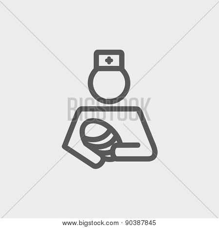 Nurse holding the baby icon thin line for web and mobile, modern minimalistic flat design. Vector dark grey icon on light grey background.