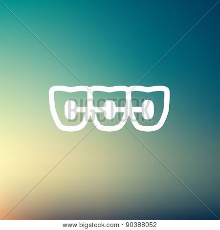 Orthodontic braces icon thin line for web and mobile, modern minimalistic flat design. Vector white icon on gradient mesh background.