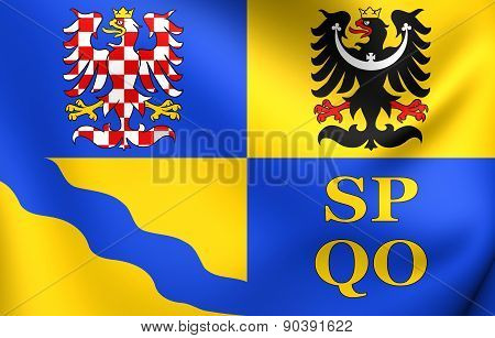 Flag of Olomouc Region Czech Republic. Close Up. poster