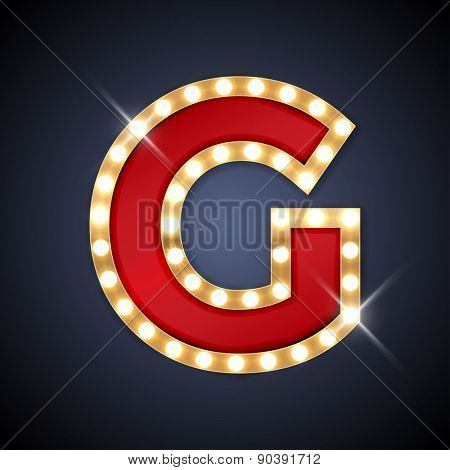 Vector illustration of realistic retro signboard letter G. Part of alphabet including special European letters.