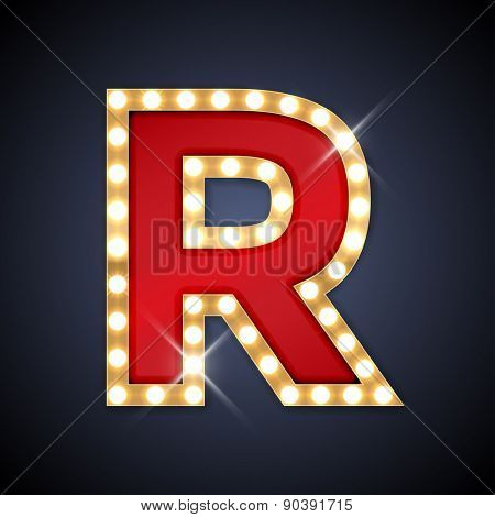 Vector illustration of realistic retro signboard letter R. Part of alphabet including special European letters.