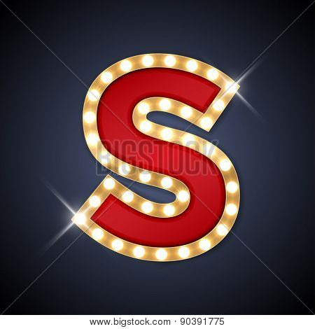 Vector illustration of realistic retro signboard letter S. Part of alphabet including special European letters.